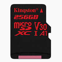 KINGSTON 256GB microSDXC Canvas React 100R/80W U3