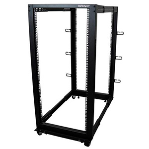 STARTECH 25U Adjustable Depth 4-Post Rack Steel Black